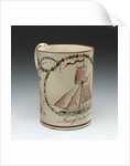Creamware wedding tankard by unknown