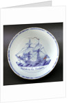 Delftware ship bowl by unknown