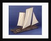 Full hull model, sailing liferaft, starboard stern quarter by unknown
