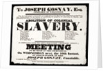 Letterpress poster advertising a meeting for the Abolition of Colonial Slavery by Hurst of Wakefield