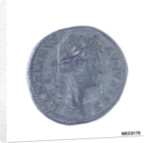 Classical coin depicting Emperor Hadrian and a Roman galley by unknown
