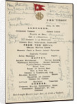 'Titanic' luncheon menu, signed by passengers, 14 April 1912 by unknown