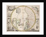 Polar projection map with Arctic Circle by John Seller