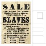 Slave sale poster by unknown