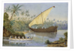 HMS 'London' chasing a slaving dhow near Zanzibar by Robert O'Donelan Ross-Lewin