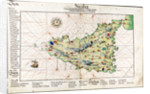 Chart of Sicily, 1554 by Battista Agnese