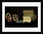 Non-regulation gas mask bag and contents by unknown