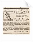 Reward advertisement for runaway slave 'Run Away Jack', aged 15 or 16 years old by unknown