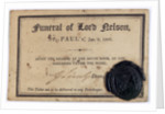 Ticket to Nelson's funeral in St. Paul's Cathedral by unknown
