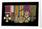 Medals on bar (obverse, left to right): Distinguished Service Order, 1914-15 Star; British War Medal 1914-1918; Victory Medal 1914-1918; Order of Leopold, 4th class (military); Croix de Guerre 1914-1918 by W. Wyon