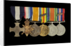Medals awarded to Lt Cdr Basil N. Downie DSC RN (obverse, l to r, MED1825-1830) by Garrard & Co.