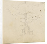 Study of a tree with two chairs either side of its trunk by Thomas Baxter