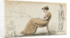 A young woman seated in a chair and other figure studies (verso) by Thomas Baxter