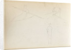 Two sketches of figures rowing and a standing woman, possibly Emma Hamilton (verso) by Thomas Baxter