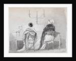 Emma Hamilton and Madame Bianchi seated at a square piano by Thomas Baxter