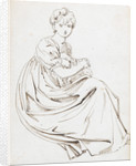 A young woman seated or crouching holding a dog in her lap, possibly Charlotte Nelson by Thomas Baxter