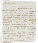 Letter from Lady Nelson to Alexander Davison, front page by Lady Frances Nelson