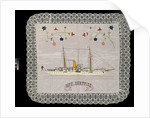 An embroidered silk cushion, showing HMS 'Surprise' by unknown