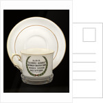Cup and saucer commemorating the maiden voyage of  RMS 'Queen Mary' by John Aynsley & Sons Ltd.