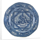 Octagonal blue transfer-printed commemorative plate by unknown