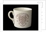 White mug printed in colour in commemoration of the Peace ending World War I by unknown