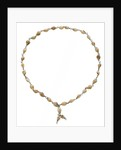 Cowrie shell necklace joined with metal links by unknown