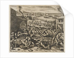 Virginia; Indians slaughtering the English near Jamestown by Gottfried