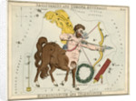 Constellation card, Urania's mirror, Sagittarius and Corona Australis by Sidney Hall