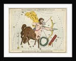 Constellation card, Urania's mirror, Sagittarius and Corona Australis by Sidney Hall