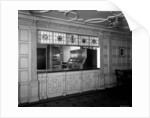 Serving window in the First Class Grill Room on the 'Aquitania' (1914) by Bedford Lemere & Co.
