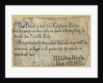 Message from William Edward Parry's attempt on the North Pole 1827. by unknown