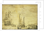 A Dutch flagship, thought to be the Eendracht at anchor close in by Willem van de Velde the Elder