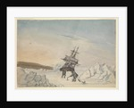 A ship stuck in the ice with two members of crew fixing the ship into ice with four fastenings by Edward Newell Harrison