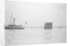 'Excellent' (Br, 1883), forward half of vessel off picture, towing gunnery target by unknown