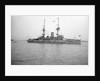 HMS 'Caesar' (1896), battleship, at anchor, awning rigged aft by unknown