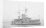 Battleship HMS 'Goliath' (1898), at anchor with awning rigged by unknown