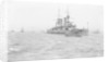 Battleship HMS 'Triumph' (1903) at anchor, slightly distant by unknown