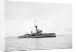 Dreadnought battleship HMS 'Hercules' in 1913, at anchor with awnings amidships and aft by unknown