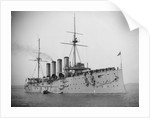 HMS 'Aboukir' (Br, 1900) armoured cruiser at anchor, flying paying off pennant by unknown