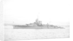 Light cruiser HMS 'Effingham' (1921) in 1939 at anchor with awning rigged aft by unknown
