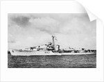HMS 'Comus' (1945), a port near beam from just forward of broadside view, under way by unknown