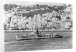 HMS 'Chevron' (1944), under way off an unknown port by unknown