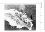 Destroyer HMS 'Daring' (1949) turning to starboard at high speed by unknown