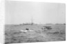 Scout cruiser HMS 'Attentive' (1904) in 1915-1916, at anchor off Dunkirk with a Short Type 184 seaplane in the foreground by unknown