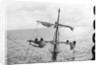 Aloft on the Mizzen furling the blown-out sails by Alan Villiers