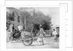 A Chinese man pushing a wooden wheelbarrow with a rickshaw in the background by Kenneth Hurlstone Jones