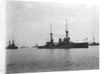 Battlecruiser HMS 'Inflexible' (1907) at anchor at Spithead, with awning rigged amidships by unknown