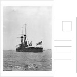 Battleship HMS 'Bellerophon' (1907) at anchor at Spithead, with awning rigged aft by unknown