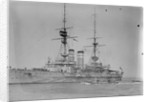 Battleship HMS 'Queen' (1902) at anchor at Spithead, with awning rigged aft by unknown
