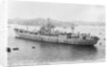Photograph of the maintenance ship for aircraft components HMS 'Holm Sound' (1944) moored in Grand Harbour, Malta on 12th April 1946. Port side view just aft of the broadside. by unknown
